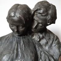 Szamovolszky Ödön: Az első vallomás, szobor, 31 x 35 x 20 cm