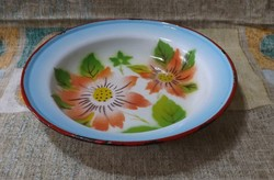 Gyönyörű Budafok zománcos,virágos tányér,