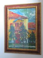 Festmény olaj karton 1990-es évek eleje utcakép