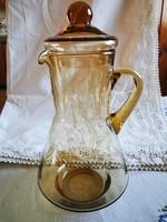 Gyönyörű fedeles üveg kancsó 22.5 cm magas