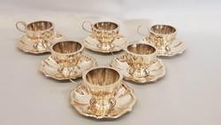 Antik 6 személyes ezüst kávéskészlet, mokkáskészlet