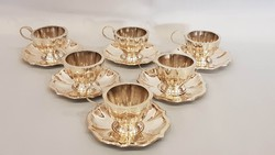 Gyönyörű antik 6 személyes ezüst kávéskészlet, mokkáskészlet