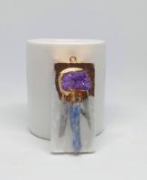 Szelenit-kék kianit-titánium druzy medál