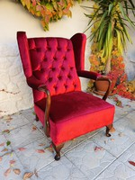 Chippendale stílusú füles fotel, tűzött háttámlával