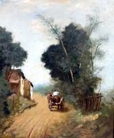 Rezes Molnár Lajos ( 1896 - 1989 ) SZEKÉR AZ ALFÖLDI NAPSÜTÖTT VIDÉKEN  !!!