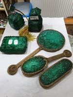 Régi csehszlovák üveg parfümös készlet