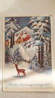 Régi karácsonyi képeslap 1940 őzikés levelezőlap