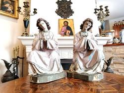 Antik faragott és festett fa angyalok 1830-1840-es évekből párban (Ér-135)