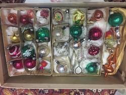 AkciÓ !Régi, üveg mini karácsonyfadíszek egy egész doboz