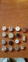 15 db régi óraszerkezet aranyórák bontásából