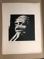"""Swierkiewicz Róbert (Pécs 1942-2019 ) 'Ady-Maszk' """"Szita"""" Ady mappából kiadva 1977 Párizs 39/100db"""