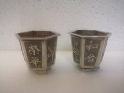 2 antik kinai ezüst sake pohár