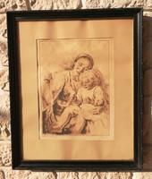 Glatz Oszkár rézkarc nagyobb méretben, szép szignált anya gyerekével. Prihoda, fekete keret, 52 x42.