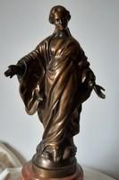 Vitéz Máriahegyi (Miereisz) János: Kígyón taposó Szűz Mária, bronz szobor, 34 cm
