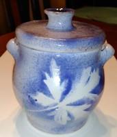 Kerámia kék-fehér fűszertartó, cukortartó, fedeles doboz, bonbonier