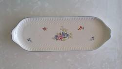 Régi vintage Gránit virágos füles tálca tál 40,5 cm