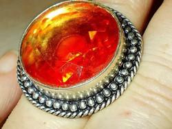 Tekintélyes Arany fényű Muránói Kristály Tibeti ezüst Gyűrű 8.5 -es