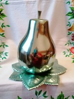 Retro Fém körte alakú kínáló, üveg poharakkal