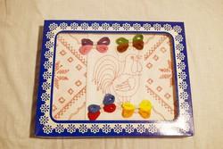 Hímzésminta gyerek játék előrajzolt hímezhető kakas kis terítő 17 x 17 cm 3db. 8.