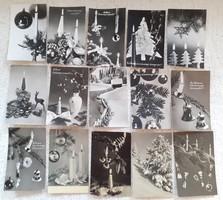 Retro karácsonyi képeslap fekete-fehér levelezőlap 15 db