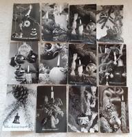 Retro karácsonyi képeslap fekete-fehér levelezőlap 12 db