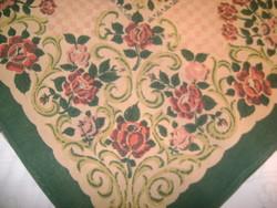 Régi népi szövött, szőtt nagy terítő, virágos abrosz, asztal terítő, ágy takaró - 257 x 138 cm