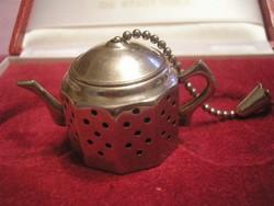Angol,teafű tartó pici kanna Régi  ezüstözött teás kanna teaszűrő jelzett