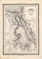 Egyiptom térkép 1861, olasz, eredeti, atlasz, Núbia, Abesszínia, Nílus, észak, Afrika, kelet