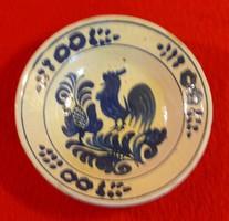 Korondi kék mázas kakasos tányér, 20 cm