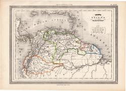 Kolumbia, Ecuador, Guyana térkép 1861, olasz, eredeti, atlasz, Dél - Amerika, észak, Venezuela