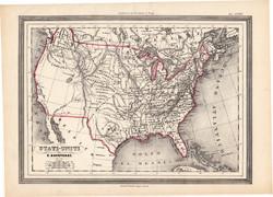 Amerikai Egyesült Államok térkép 1861, olasz, eredeti, atlasz, Amrika, XIX. század, állam, észak