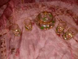 Festett üveg kupicák és cukor tartó