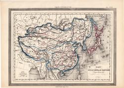 Kína és Japán térkép 1861, olasz, eredeti, atlasz, Ázsia, Tibet, Himalája, XIX. század