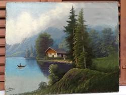 Antik tájkép, restaurált 100 évesnél öregebb! Osztrák, Alpesi, Tátra, tengerszem, lírikus tájkép.