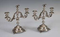 Ezüst 2 ágú gyertyatartó párban  sas figurás díszítéssel