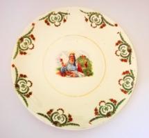 Rarity! Antique Wilhelmsbur faience wall ornament bowl with portrait of Saint Elizabeth