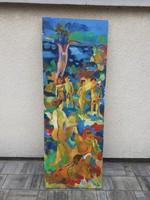 170 cm magas Festmény Nudista Jelenettel