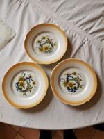 3 db Zsolnay porcelán madaras kis tányér 15 cm