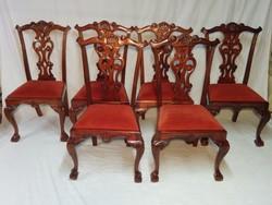 Chippendale mahagóni 6 db szék