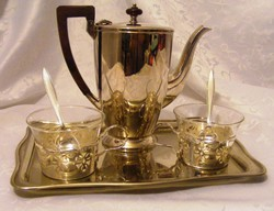 Tea vagy kávé két személyre, ezüstözött teás vagy kávés készlet, Sheffield kanna, csészék, kanalak