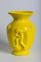 Gorka Géza, Nógrádverőce, art deco kerámia, repesztett sárga mázas váza
