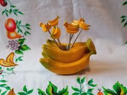 Banános szendvics vagy gyümölcs kínáló tartó és 6 db villa (műanyag és fém)