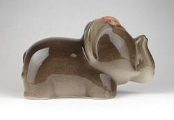 1C547 Nagyméretű mázas kerámia elefánt persely 16.5 cm