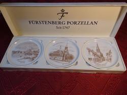 Fürstenberg német porcelán mini falidísz, 3 db díszdobozban, NIENBURG látképével.