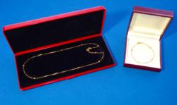 18K velencei típusú arany nyaklánc és karkötő szett