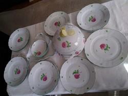 Herendi Tercia  porcelán étkészlet citromfogós leveses tállal, kézzel festve!