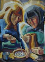Rafael Győző Viktor (1900-1981): Tejet öntő asszonyok