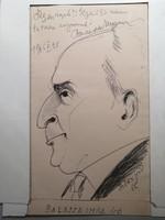 Szőnyi Jenő karikatúrája Balassa Imre íróról