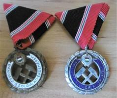 Kitüntetés Bányász Szolgálati Érdemérem bronz és ezüst fokozat