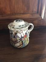 Életképes keleti fém szűrős, különleges fül és forma, teás bögre